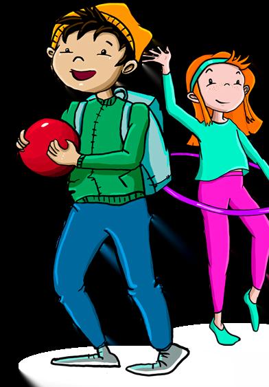 Tasaseksin kuvituskuva, jossa kaksi lasta, joista toisella on pallo ja toisella hulavanne
