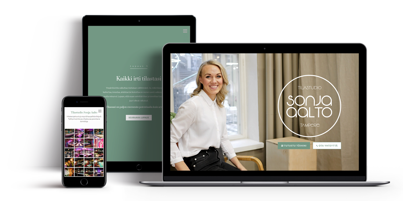 Tietokone, tabletti ja puhelin, joissa Tilastudio Sonja Aallon nettisivut