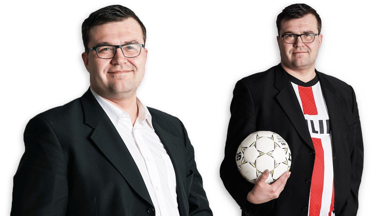 Kaksi henkilökuvaa Viestintätoimisto Lyytikynän yrittäjä Tarmo Lyytikäisestä, toisessa kuvassa jalkapallo kädessään