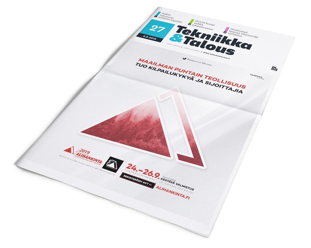 Tekniikka & Talous -lehden kansi, jossa on Alihankinta-messujen koko sivun lehtimainos