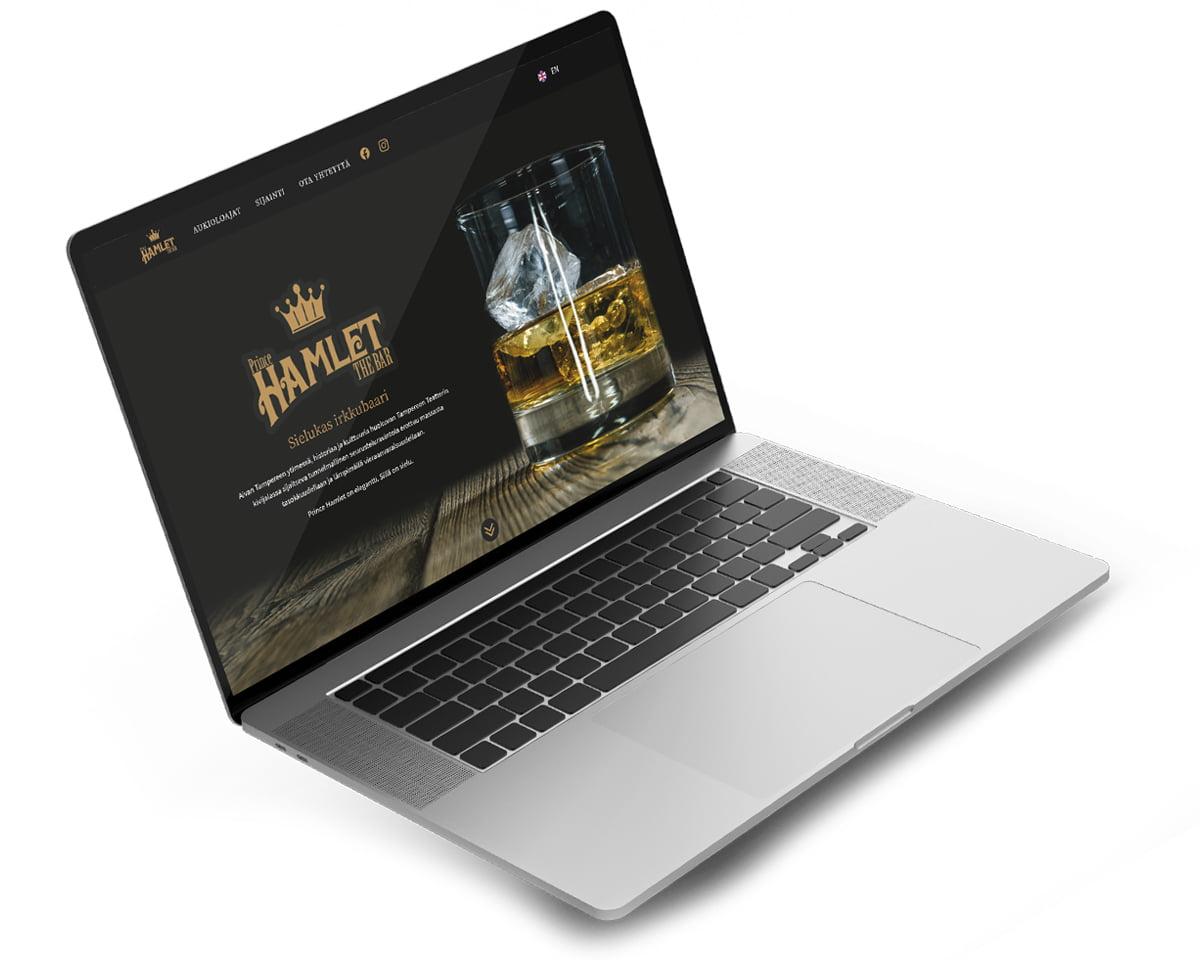 Tietokone, jossa Bar Prince Hamletin nettisivut