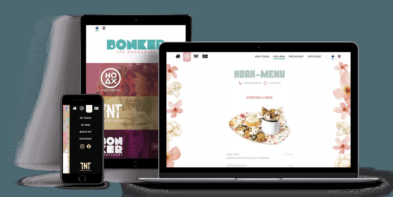 Tietokone, tabletti ja puhelin, joissa Bonkerin, HOAXin ja Tacos 'n' Tequilan nettisivut