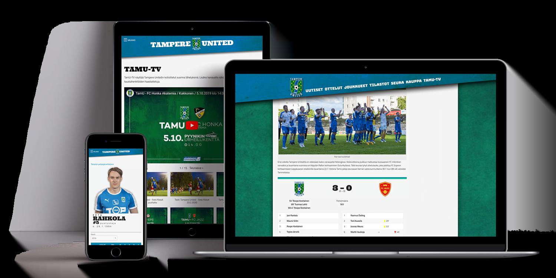 Tietokone, tabletti ja puhelin, joissa Tampere Unitedin nettisivut