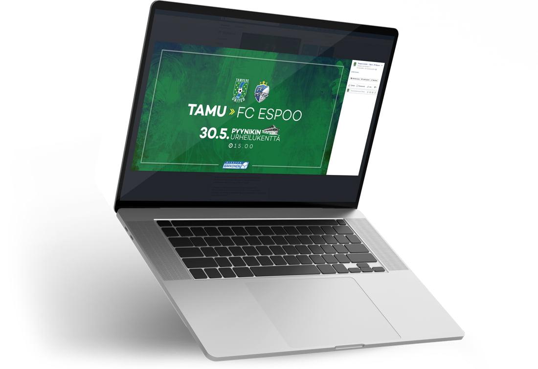 Tietokone, jonka ruudulla on mainos Tampere Unitedin ottelumainos
