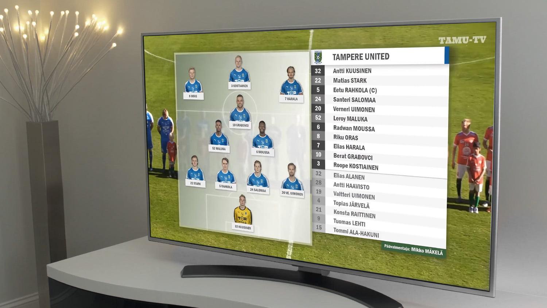 Televisio, jonka ruudulla on TamU-TV:n ottelulähetyksen grafiikat