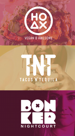 HOAXin, Tacos 'n' Tequilan ja Bonker Nightcourtin logot