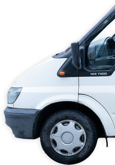 Kuva Pakunvuokraus.fi-yrityksen pakettiauton keulasta