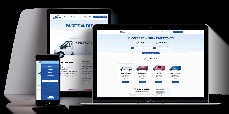 Tietokone, tabletti ja puhelin, joissa Pakunvuokraus.fi:n nettisivut